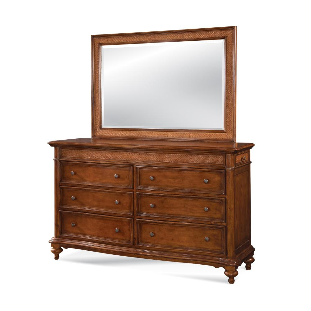 Hudson Bay 6-Drawer Golden Brown Dresser with Mirror