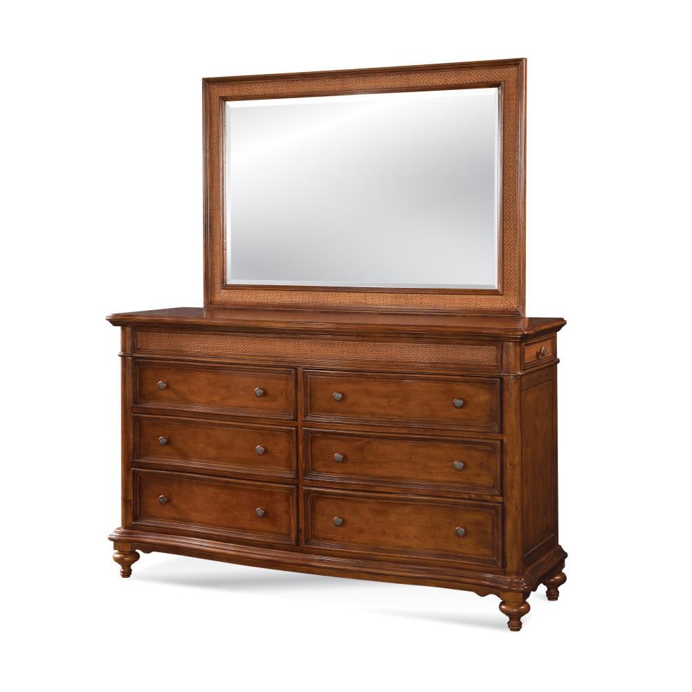 American Woodcrafters Drawer Golden Brown Dresser Mirror