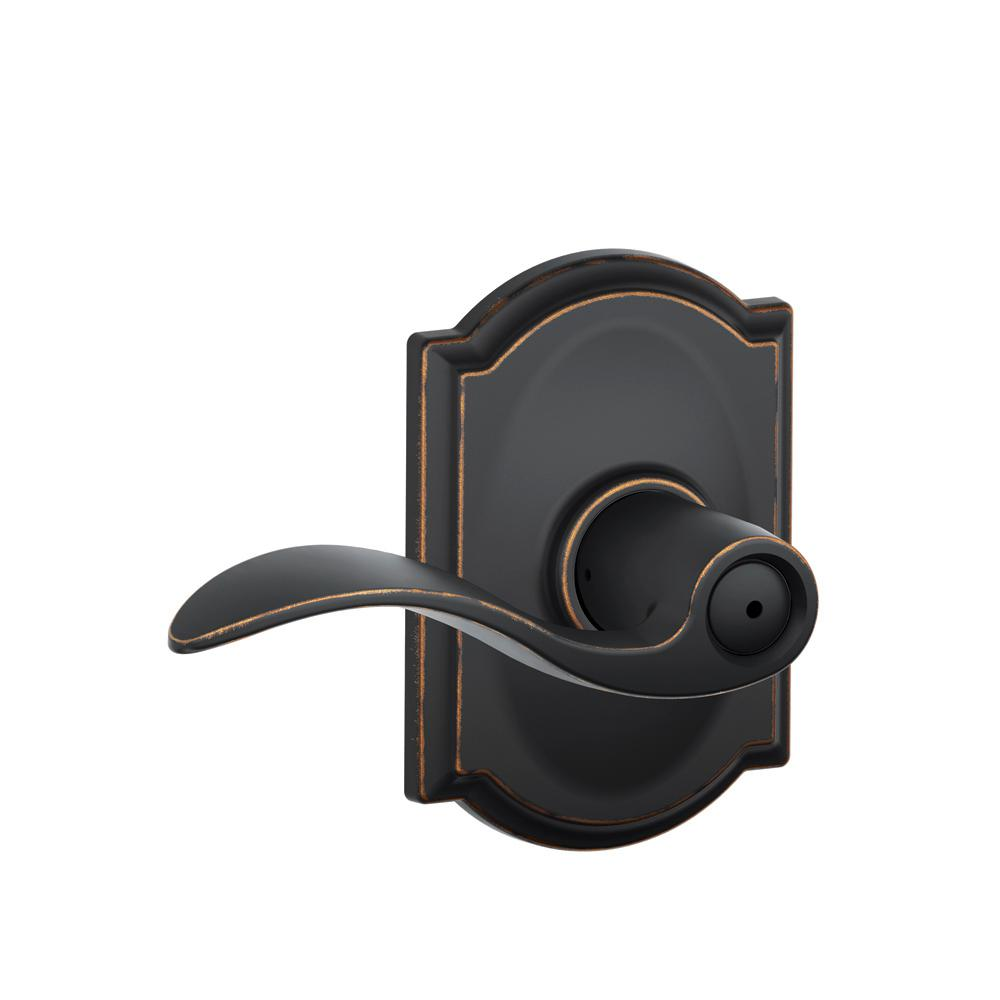 Schlage Accent Aged Bronze Privacy Bed Bath Door Lever