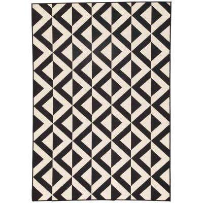 Jet Black 10 ft. x 13 ft. Tribal Indoor/Outdoor Area Rug
