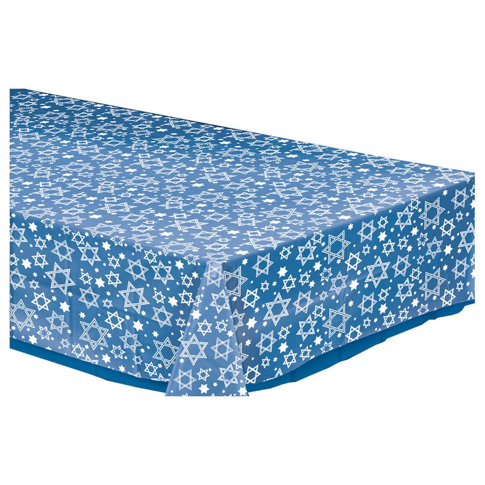 Amscan Star Of David Rectangular Clear Plastic Table Cover (5 Pack)