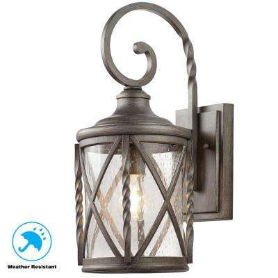 1-Light Antique Pewter 18.75 in. Outdoor Wall Lantern Sconce with Seeded Glass