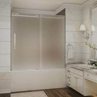 Moselle 56 in. to 60 in. x 60 in. Completely Frameless Sliding Tub Door with Frosted Glass in Stainless Steel