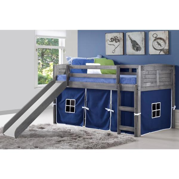 Donco Kids Antique Grey Twin Louver Low Loft Bed With Slide And Blue Tent Kit 790 Aag 750c Tb 785 Ag The Home Depot