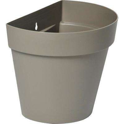 Rio 11 in. x 9.25 in. Taupe Plastic Wall Planter