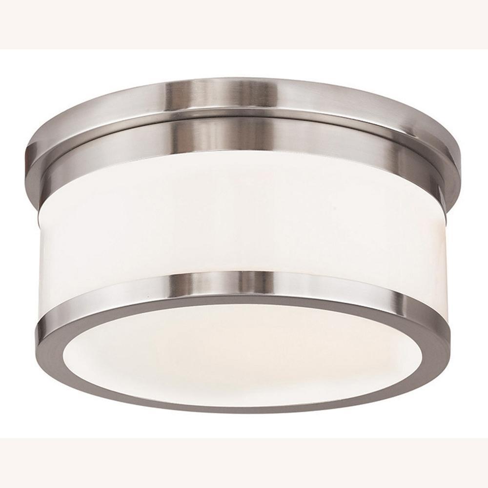 livex lighting stafford 2 light brushed nickel flushmount 65502 91