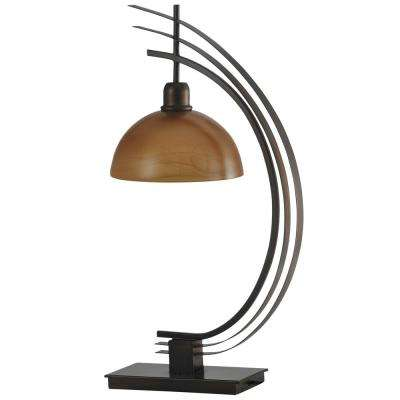 29 in. Bronze Table Lamp with Amber Glass Shade