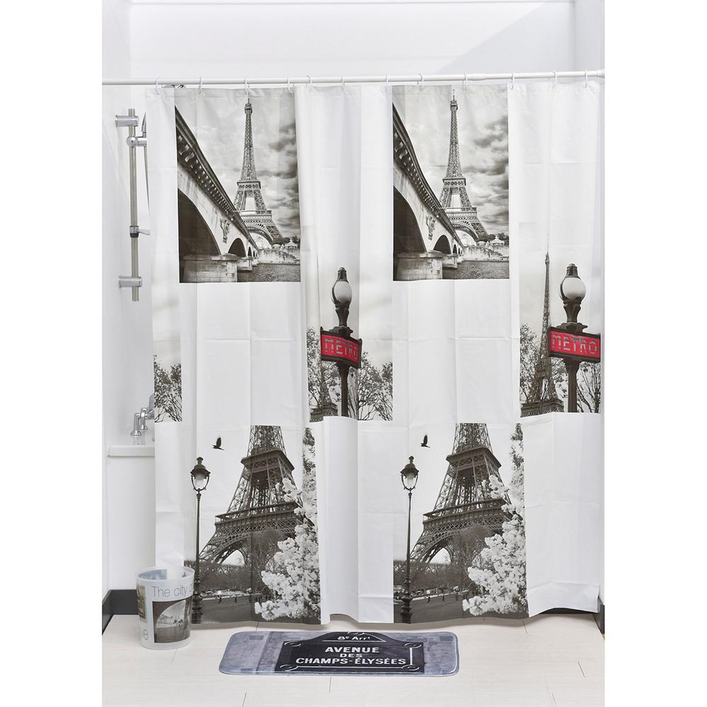 71 in. x 71 in. Gray Paris City Printed Peva Liner Shower Curtain