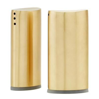 Champagne Tone Oval Salt and Pepper Shaker Set