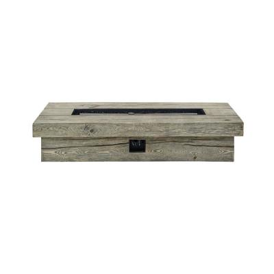 Manteo 70 in. Light Gray Rectangular Metal Outdoor Patio Fire Pit Table