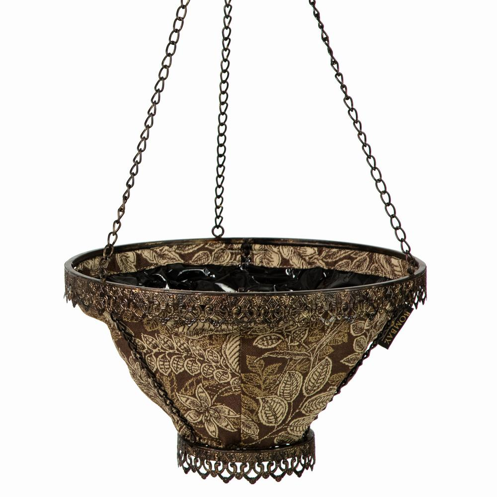Black Avignon Hanging Planter With Espresso Liner