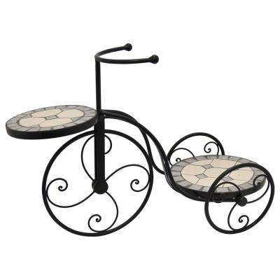 16.5 in. Multi-Colored Bicycle Plant Holder with Mosaic