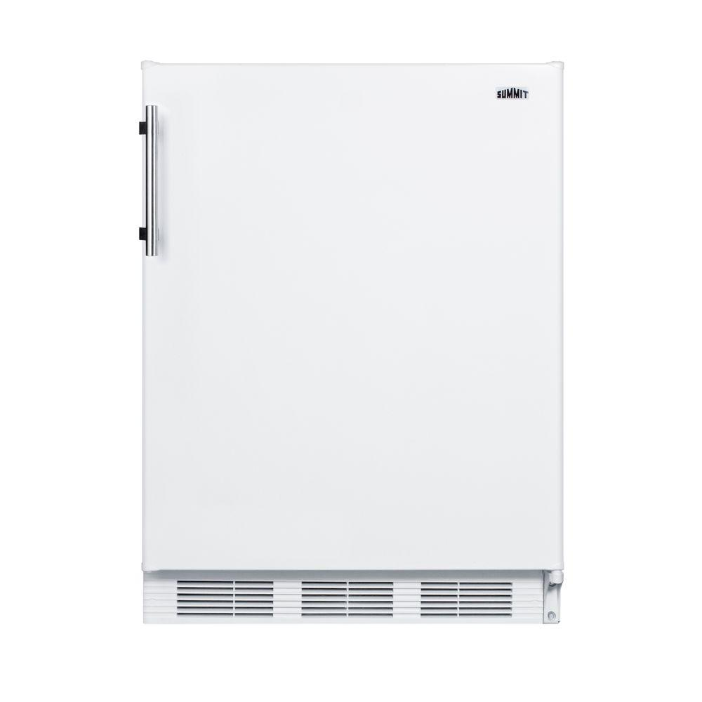 Summit Appliance 5.1 cu. ft. Mini Fridge in White Summit brings quality and value to counter height refrigeration with a versatile selection of residential refrigerator-freezers. The CT661 Series features residential refrigerator-freezers made in Europe and designed for freestanding use in home kitchens. Sized with a 24 in. footprint, CT661 refrigerator-freezer offers a generous 5.1 cu. ft. storage capacity, a larger interior than many units in this size class. This model features a white exterior finish with a User reversible door swing. A stainless steel handle completes the look. Inside, the CT661 features a dual evaporator to allow separated cooling of the fresh and frozen food sections. The refrigerated compartment utilizes low maintenance automatic defrost, while the interior freezer compartment is manual defrost to achieve lower storage temperatures ideal for ice cream and other frozen food. The deluxe interior includes adjustable glass shelves for spill-proof storage and easier cleaning, as well as a scalloped wine shelf to hold wine and champagne bottles safely in place. Door racks offer additional convenience for tall bottles and condiments and a clear crisper drawer ensures your produce is stored under the ideal conditions. This model includes automatic interior lighting and an adjustable dial thermostat. With its ideal dimensions and user-friendly features, the CT661 is the perfect refrigerator-freezer for any home in need of reliable cold storage in a counter height fit.