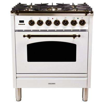30 in. 3.0 cu. ft. Single Oven Italian Gas Range with True Convection, 5 Burners, LP Gas, Bronze Trim in White