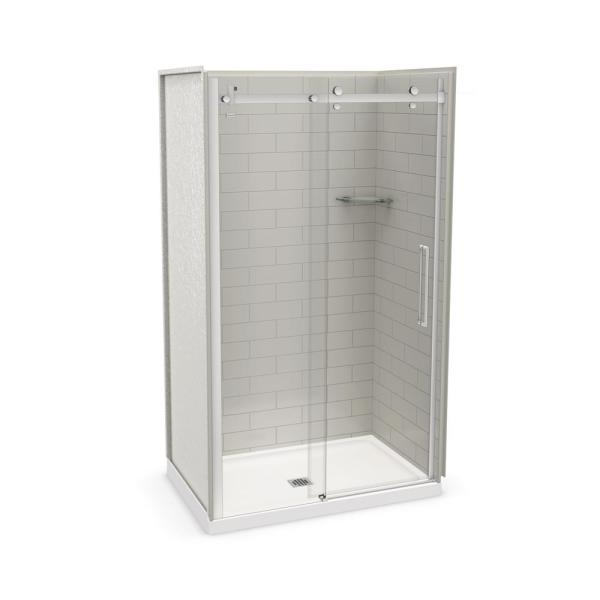 Utile Metro 32 in. x 48 in. x 83.5 in. Center Drain Alcove Shower Kit in Soft Grey with Chrome Shower Door