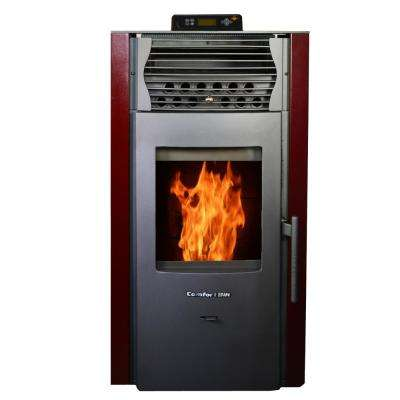 2,200 sq. ft. EPA Certified Pellet Stove with Auto Ignition and 47 lbs. Hopper in Burgundy/Red