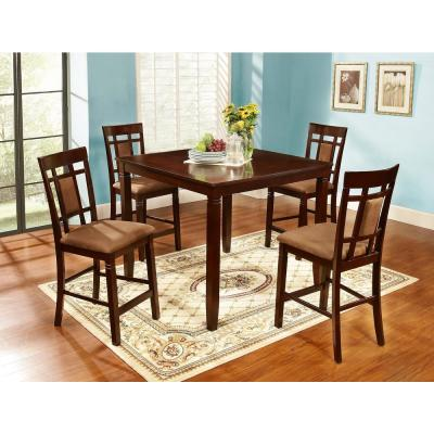 5-Piece Brown Solid Wood Dinning Set