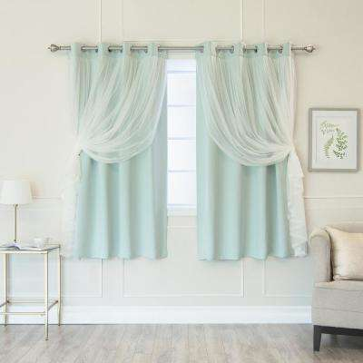 Mint 63 in. L Marry Me Lace Overlay Blackout Curtain Panel (2-Pack)