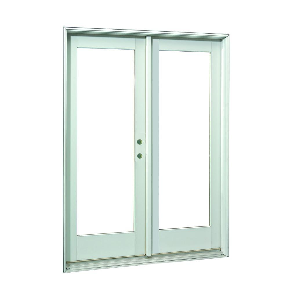 60 in. x 80 in.White Full Lite Prehung Right-Hand Inswing Patio