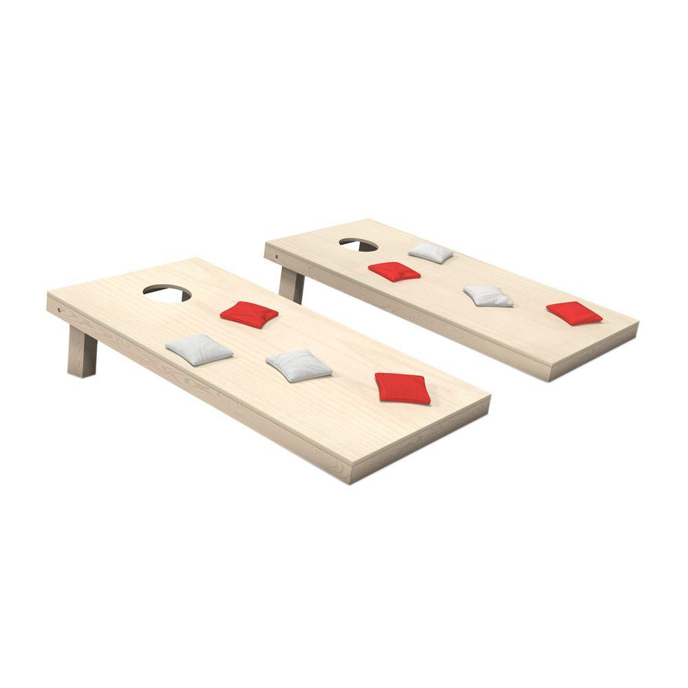 Wooden Cornhole Toss Game Set with Red and White Bags