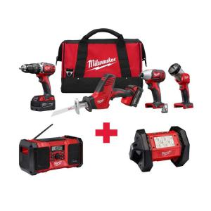 Milwaukee M18 18-Volt Lithium-Ion Cordless Combo Kit (4-Tool) with Free M18 Radio and LED Flood Light by Milwaukee
