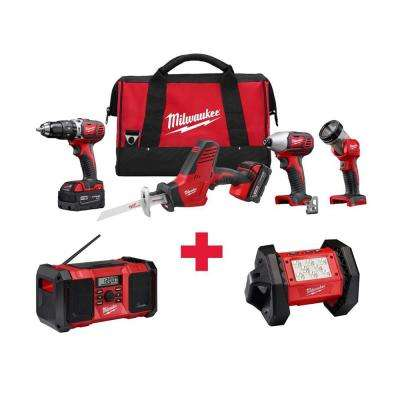 M18 18-Volt Lithium-Ion Cordless Combo Kit (4-Tool) with Free M18 Radio and LED Flood Light