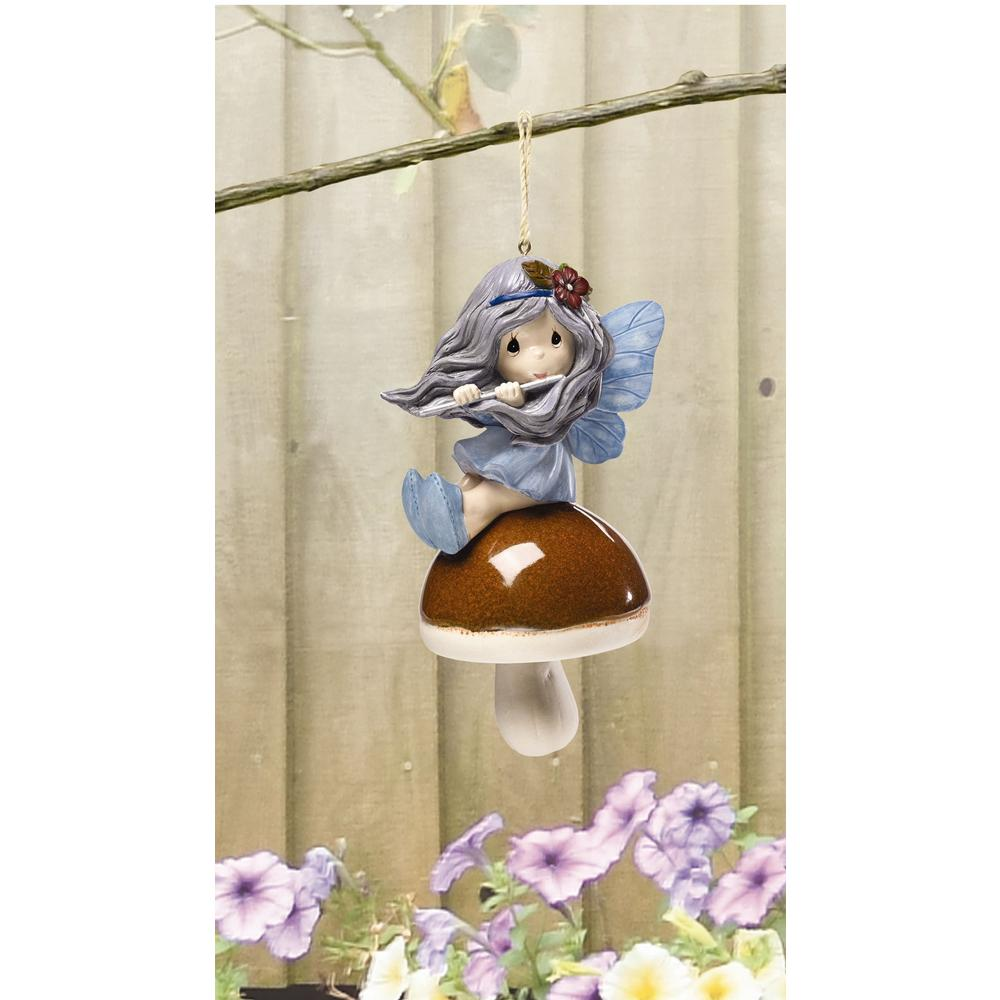 Precious Moments Forest Fairy 6.25 in. Resin Hanging Bell Ornament, Multi Nothing could be more delightful than the tinkling of a garden bell featuring a gentle forest fairy. Hanging from a tree branch or porch hook, this winged beauty is perched atop an enchanting mushroom adding magic and wonder to outdoor spaces. Give this thoughtful Precious Moments garden stake as a thinking of you gift, birthday gift, mothers day gift, housewarming gift or just because she loves to make her surroundings beautiful. Crafted in ceramic and resin. Approximately 6.25 in. H. Color: Multi.