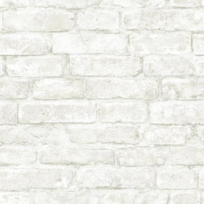 56.4 sq. ft. Arlington Off-White Brick Wallpaper