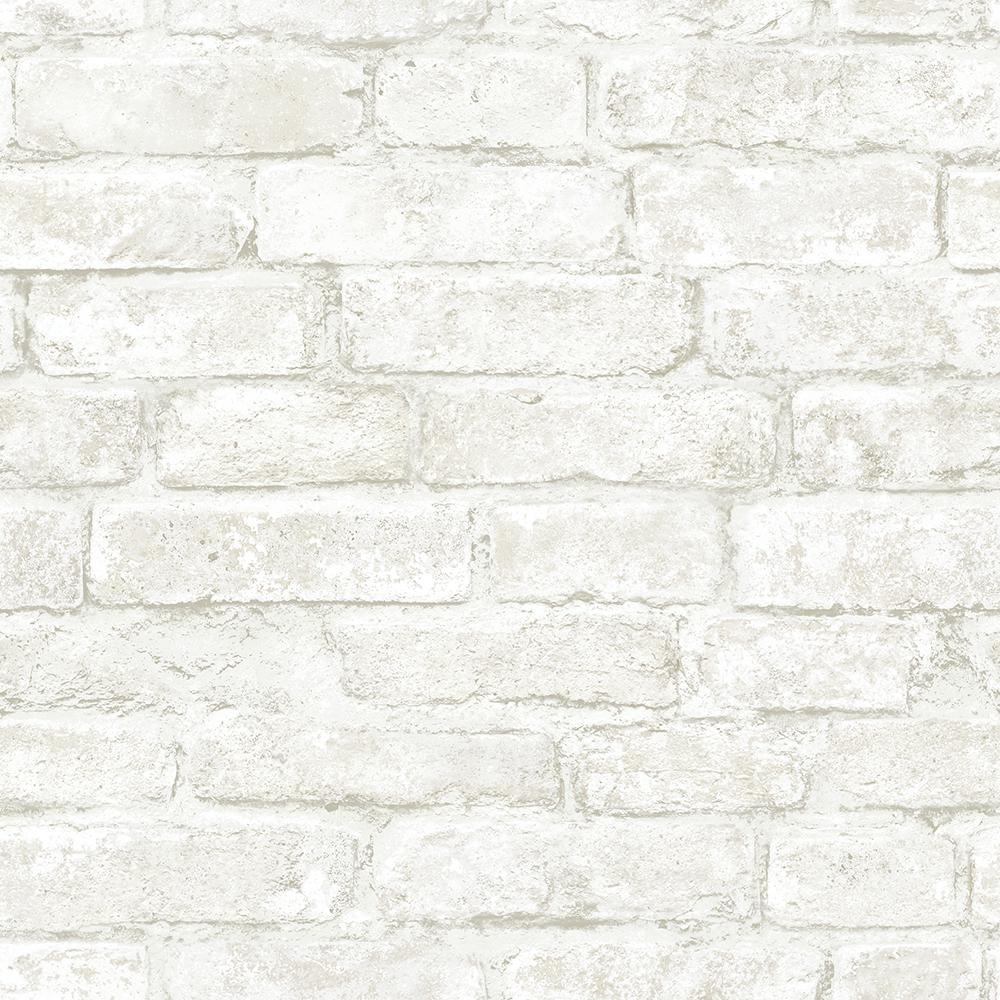 56.4 sq. ft. Arlington Off-White Brick Wallpaper