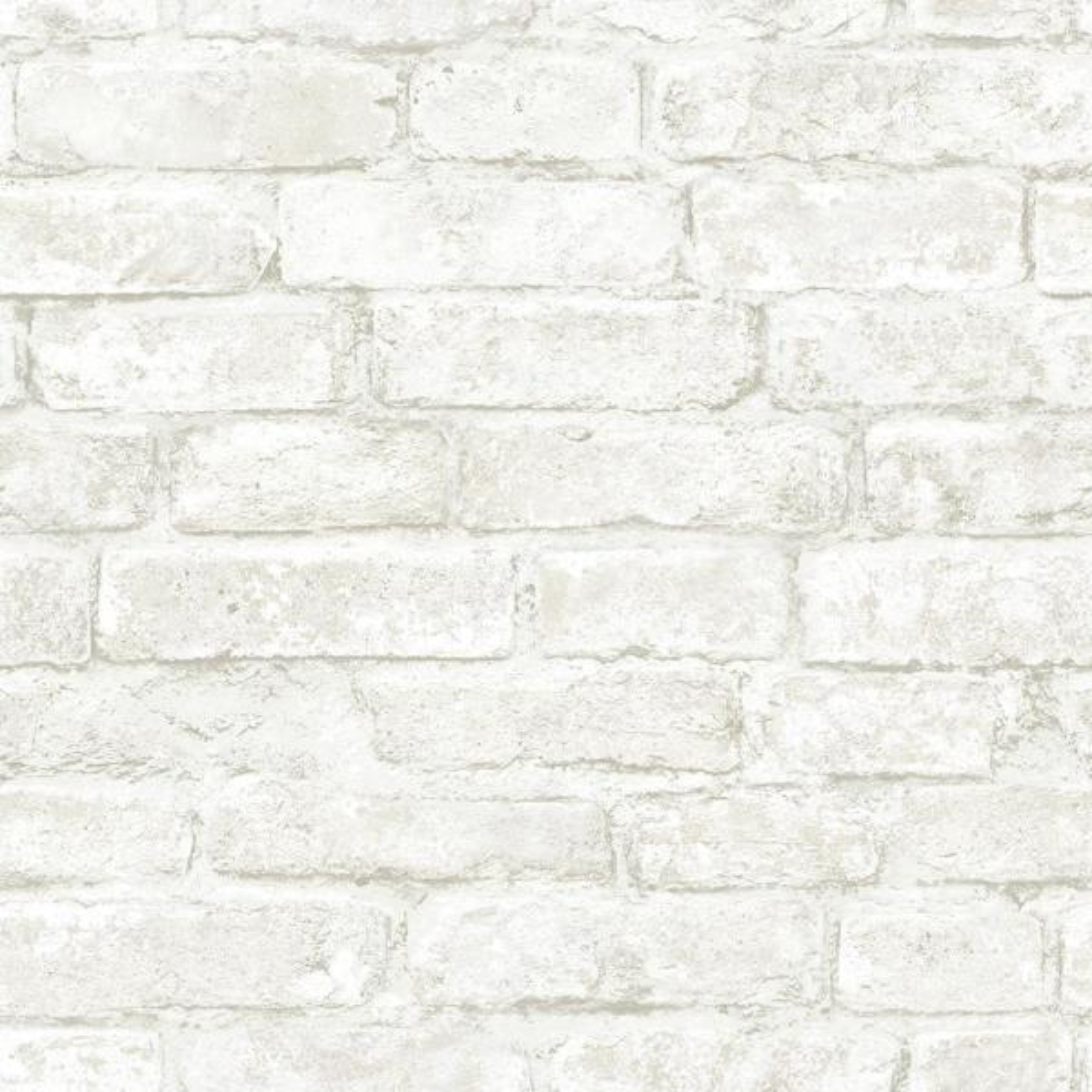 Chesapeake 8 in. x 10 in. Arlington Off-White Brick Wallpaper Sample