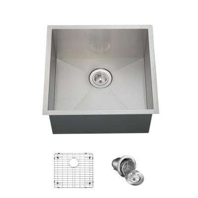 All-in-One Undermount Stainless Steel 20 in. Single Bowl Kitchen Sink