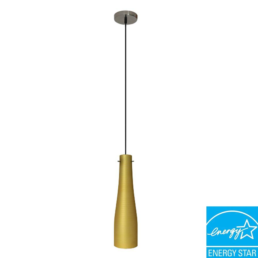 Efficient Lighting Contemporary Series 1-Light Ceiling Mount Pendant Fixture with Gold Glass Shade GU24 Energy Star Qualified-DISCONTINUED