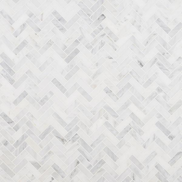 Oriental Sculpture Herringbone 12 in. x 12 in. x 8 mm Marble Mosaic Floor and Wall Tile