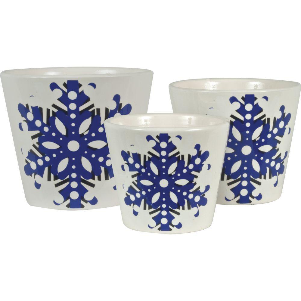 Snowflake 6.5 in. Dia, 5.5 in. Dia and 4.5 in. Dia Deep Periwinkle Ceramic Pot (Set of 3)