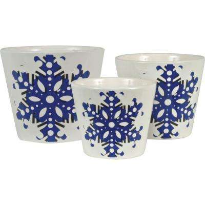 Snowflake 6.5 in. Dia, 5.5 in. Dia and 4.5 in. Dia Deep Periwinkle Ceramic Pot (Set of 3)