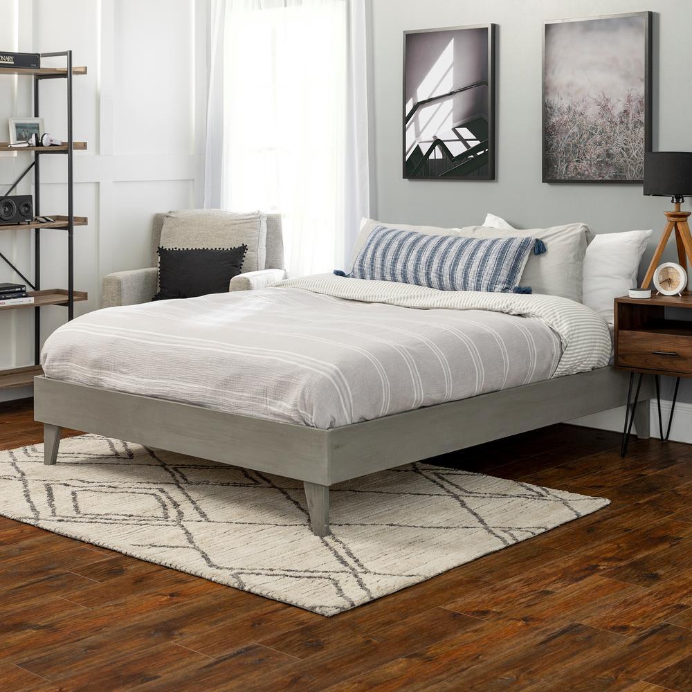 Solid Wood Grey Brush Queen Platform Bed