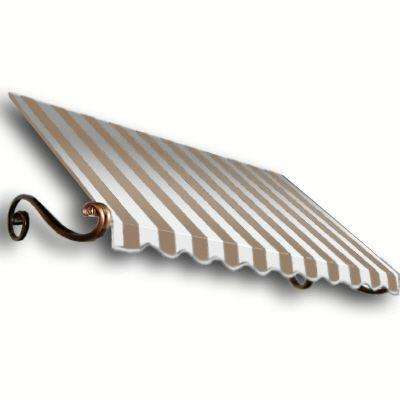 4 ft. Charleston Awning (31 in. H x 24 in. D) in Tan/White Stripe