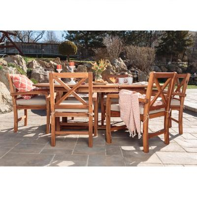 Brown 7-Piece X-Back Acacia Wood Outdoor Patio Dining Set with Tan Cushions