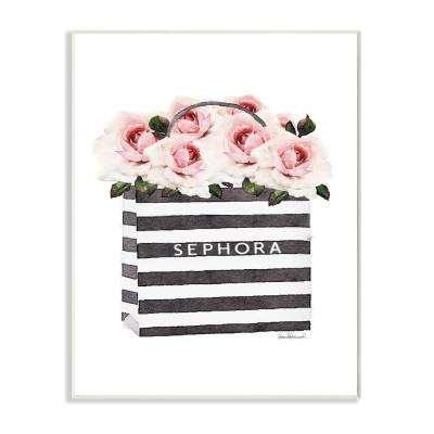 "10 in. x 15 in. ""Striped Makeup Shopping Bag Filled with Pink Roses"" by Artist Amanda Greenwood Wood Wall Art"