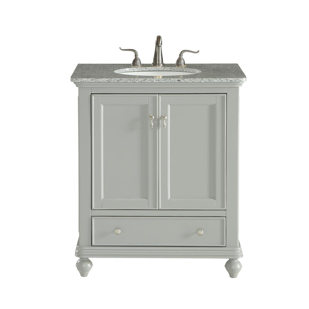 Decor Flair 30 in. Single Bathroom Vanity with 1-Drawer 1-Shelf 2-Doors Granite Top Light in Grey Finish
