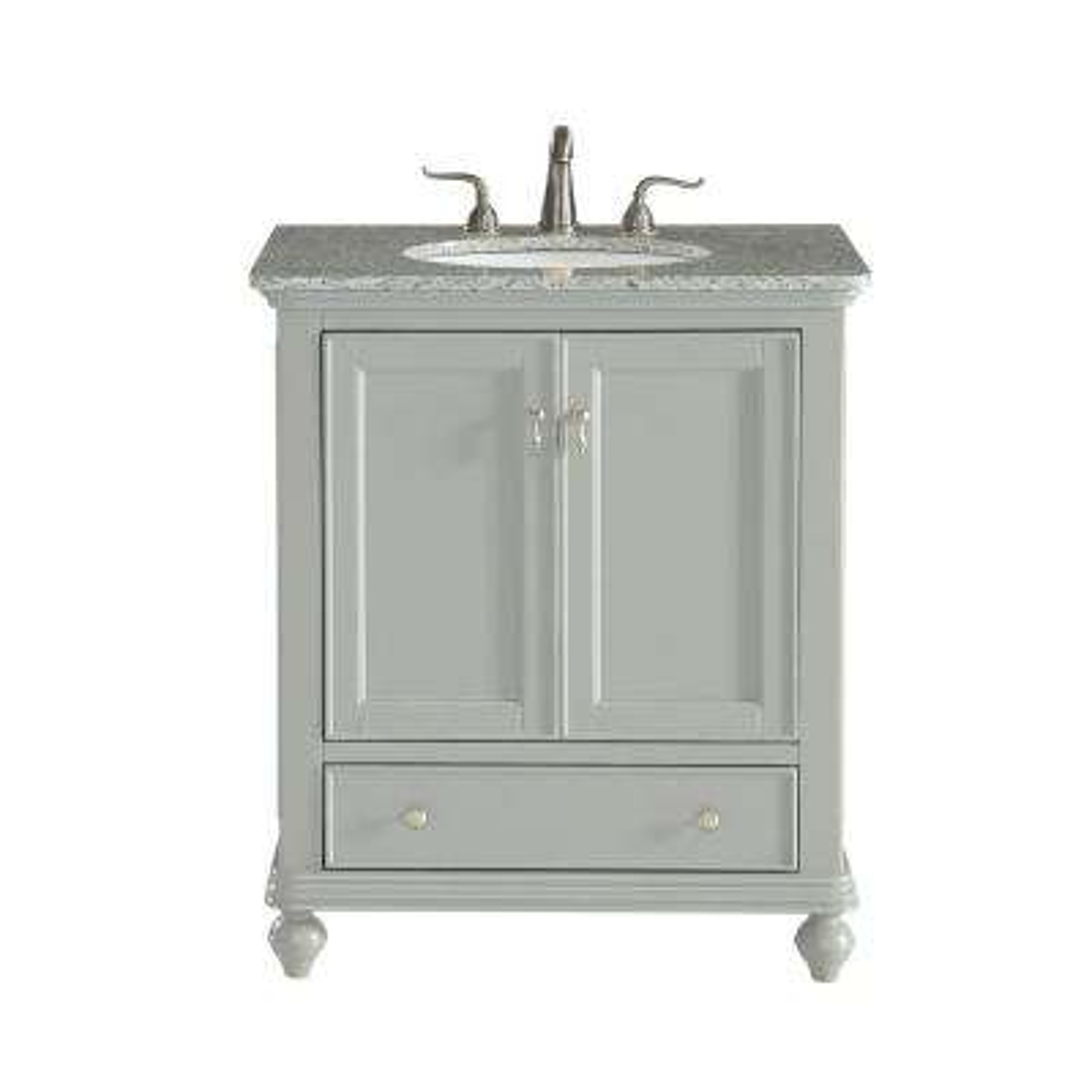 30 in. Single Bathroom Vanity with 1-Drawer 1-Shelf 2-Doors Granite Top Light in Grey Finish