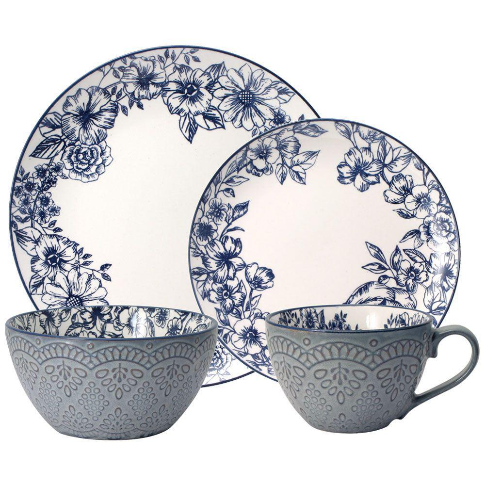 Gabriela 16-Piece Casual Blue Stoneware Dinnerware Set (Set for 4)