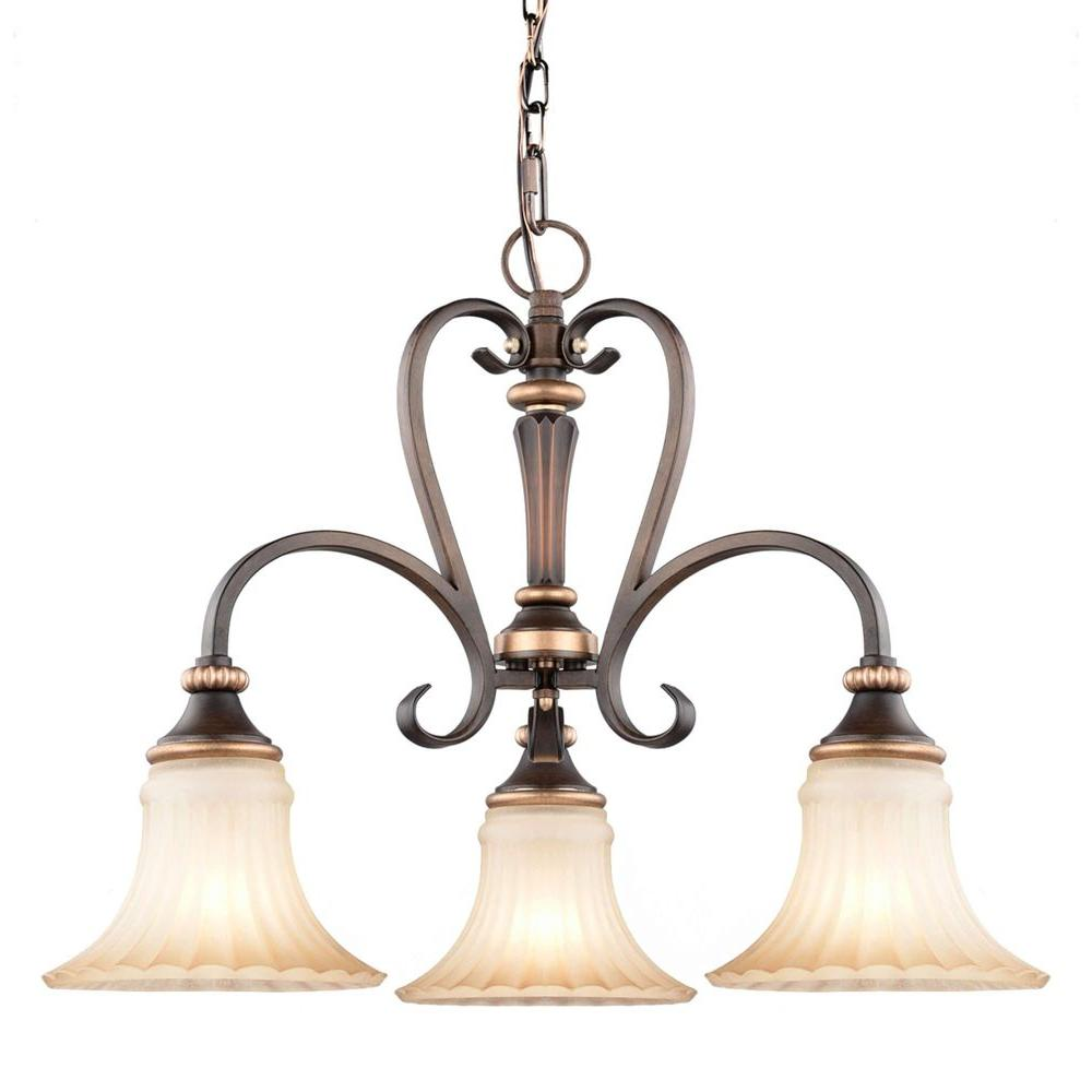 Classic brown chandeliers lighting the home depot reims 3 light berre walnut mini chandelier with driftwood glass shades aloadofball Gallery