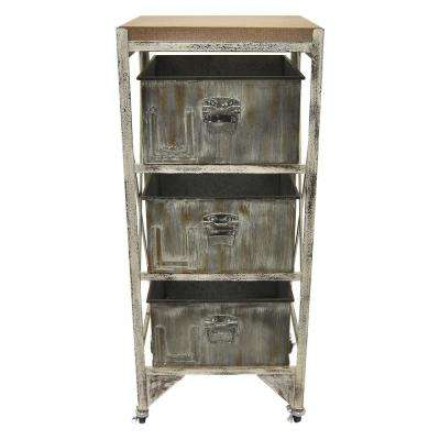15.5 in. x 13.75 in. x 37.5 in. Metal Wood Cabinet in Gray