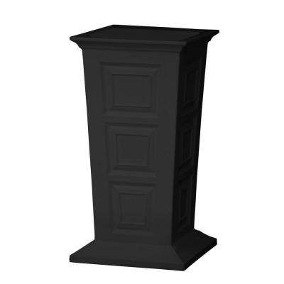 Savannah 16 in. Square Black Poly-Resin Column Planter