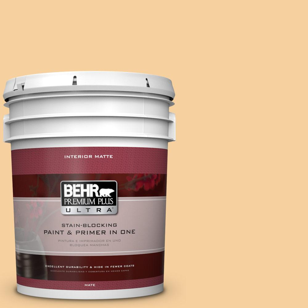 5 gal. #320C-3 Honey Butter Matte Interior Paint and Primer in