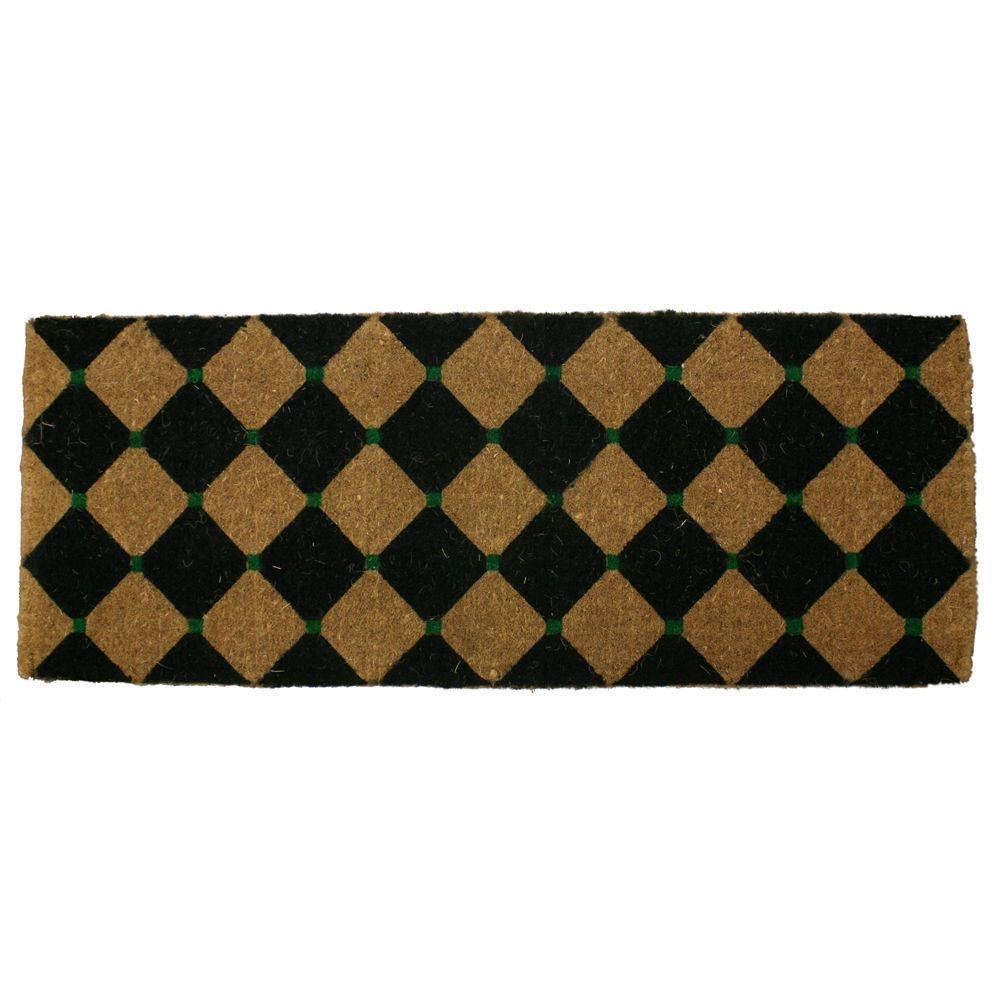 Entryways Black Diamonds 18 in. x 47 in. Extra Thick Hand Woven Coir Door Mat