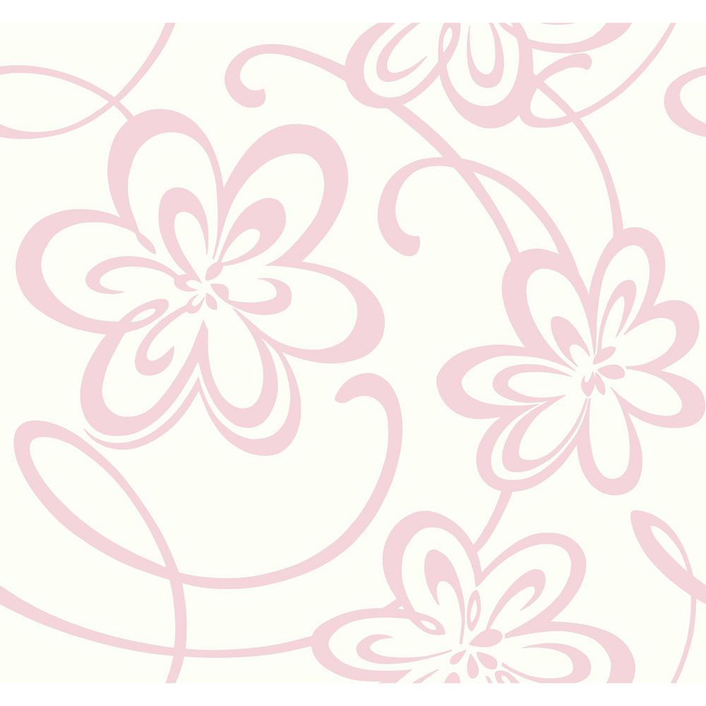York Wallcoverings Growing Up Kids Large Floral W Scrolls Removable Wallpaper