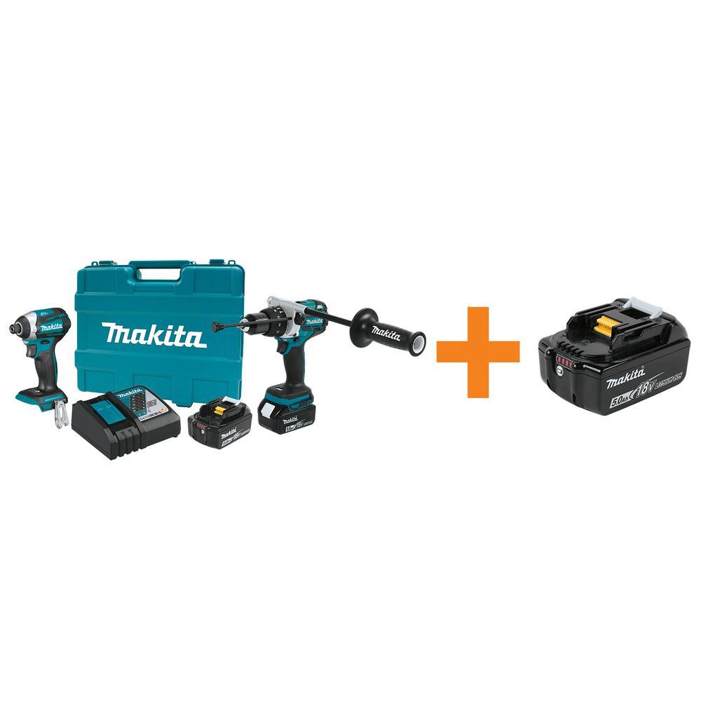 Makita 18V LXT Brushless Cordless 2-piece Combo Kit (Hammer Drill/ Impact Driver) 5.0Ah/Bonus 18V 5.0Ah LXT... by Makita