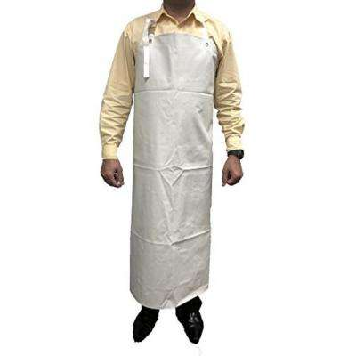 SAFE HANDLER Heavy Duty Nitrile Industrial Bib Apron, Chemical and Oil Resistant (White)
